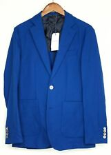 Hardy Amies Mens Sport Coat 36R Royal Blue Hopsack Cotton Wool Patch Pocket MOP