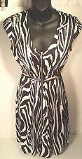 H&M Black & White 100% Polyester, Animal Print Zipper Front Dress SZ 2