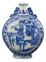 "19"" Blue and White Porcelain Figure Round Flat Jar Vase (D15)"