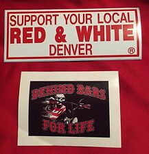 HELLS ANGELS DENVER  SUPPORT Large  Bumper STICKER PACK Colorado Red & White 81