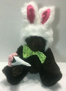 """Vermont Teddy Bear w/ Bunny Ears Plush 18"""" Tall Fully Jointed"""