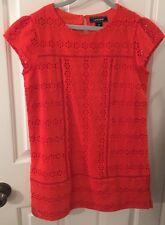 Girls Lands End Orange Eyelet Dress  Size 12 Cotton With Cotton Lining NWOT