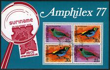 Surinam C60a S/S var., MI Bl.19, CTO. AMPHILEX. Birds, 1977
