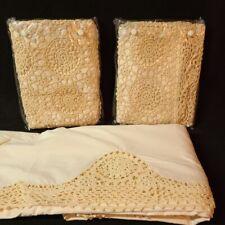 Vintage Linen w Standard Crochet Pillow Shams Queen Sheet 4YL4440010 New