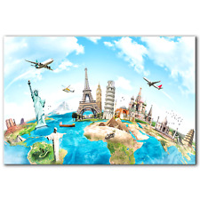 World Map Monuments Travel World Landmarks|Canvas Print Wall Art Photo|5 Sizes