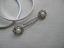 Silver Round Ivory Pearl Flower Rose Hair Slides Grips Clips Bridal Gift Bag #5