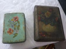 lot de 2 boites fer ancienne biscuits decor fleurs vintage french antique
