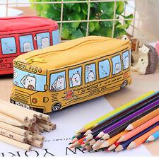 Cartoon Bus Canvas Pen Pencil Case Makeup Box Storage Zipper Stationery Gift Hot