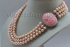"17-18-19"" 3Rows Genuine Natural 8mm Pink Round Pearl Necklace Cameo #f2387!"