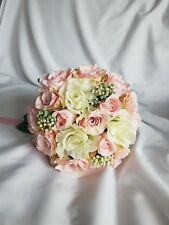 Gorgeous Handmade Silk Vintage Pink & Ivory Rose Bridal Bouquet.