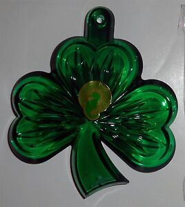 Waterford Crystal GREEN SHAMROCK Ornament+Enhancer 160070 NEW Germany GOOD LUCK