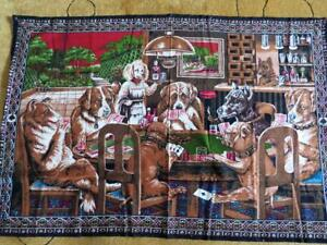Vintage Dogs Playing Cards Print Velvet Cotton Retro Tapestry Made Turkey 57x38