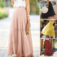 UK Womens Casual Loose A-Line High Waist Solid Skirt Flare Swing Long Maxi Dress