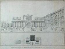 BERLIN - Friedrich-Denkmal - Schinkel-Entwurf - Kupferstich 1858