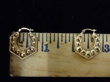 Unique 14 kt Flat octagon shaped hoop earings
