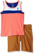 U.S. Polo Assn. Coral Boys' 2 Piece Tank and Shorts Set Size 4,5,6,7