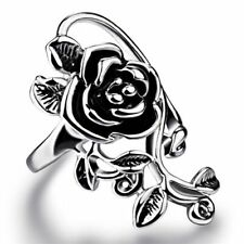"Fashion Long 1"" Rose Flower .925 Sterling Silver Overlay Ring Size 8"