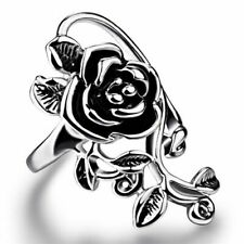 "Fashion Long 1"" Rose Flower .925 Sterling Silver Overlay Ring Size 7"