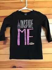 "Gymboree Posh and Playful Black ""Inspire Me"" Sparkle Top Girls 3/4 Shirt Size 7"