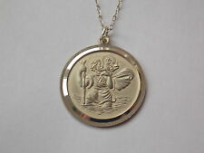 925 Sterling Silver Frosted Relief St Christopher Pendant and Chain