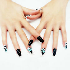 False nails UV Gel Coffin Ethnic Black White Turquoise 24pk VIVI Nail