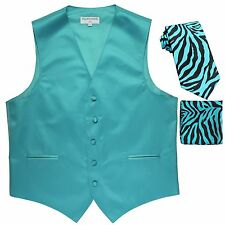 New Men's Formal Vest Tuxedo Waistcoat & blue zebra Necktie & Hankie set wedding