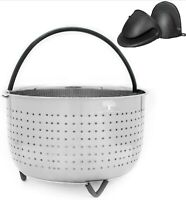 6 QT Steamer Basket for 6 -8QT Instapot, Foodi + 2 Mitts Instant Pot Accessories