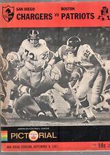 SEPTEMBER 9 1967 AFL FOOTBALL PROGRAM SAN DIEGO CHARGERS VS BOSTON PATRIOTS