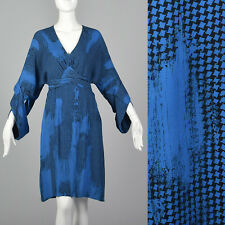 Medium 2000s Stella McCartney Print Silk Dress Black Blue Long Sleeve Abstract