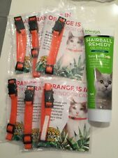 New Tomlyn Laxatone Tuna Hairball Remedy Gel Cats + 6 orange cat collars!