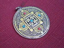 Round Metal Tibetan Pendant for Dharma Kalachakra Dorje Motif Turquoise Coral