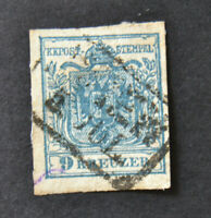 1850? 9 Kr Stamp Coat of Arms Austria Mi/Sc#/YT/SG No.5? Type II? Wien Vienna