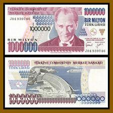 """Turkey 1 Million (1,000,000) Lira, L. (1970) 1995 P-209a Prefix """"J"""" Uncirculated"""