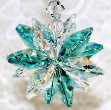 mw Swarovski Crystal Aqua & Aurora Borealis StarBurst Star Suncatcher CarCharm