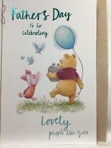 Beautiful large Hallmark Disney Fathers Day Card with Winnie the Pooh & piglet