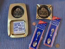 4 Vintage North Dakota Souvenir Ashtrays Spoons Peace Garden State Bison Buffalo