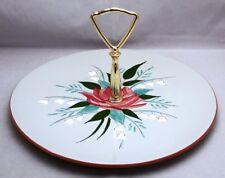 "Stangl Pottery BELLA ROSA Round Serving Platter/Handled Cake Plate 10 1/8"""