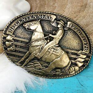 Tony Lama Belt Buckle Solid Brass Reining Horse Bi-Centennial Cowboy Rodeo LtdEd