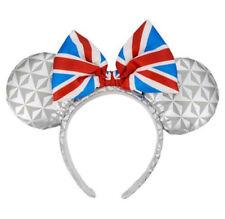 New Disney Parks Minnie Mouse Ears Bow Headband United Kingdom Epcot Flag Gift