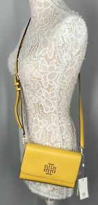 Tory Burch Britten Combo Crossbody Bag Color Goldfinch Pebbled Leather new