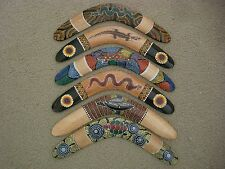 NEW 12 INCH WOODEN / WOOD ABORIGINAL DOT ART BOOMERANG