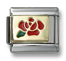 18K Gold Italian Charm Flower Red Enamel Rose 9 mm Stainless Steel Modular Link