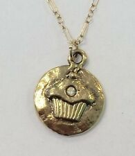NWT Mad Coin Rachel Abroms Antique Gold Swarovski Crystal Cupcake Necklace