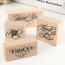 Natural Vintage Thank You Wooden Rubber Stamp Craft Wedding Party 4 Styles JX