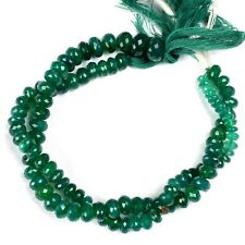 1 STRAND GREEN ONYX FACETED RONDELLES SEMI PRECIOUS GEMSTONE BEADS 6-7 MM 9""