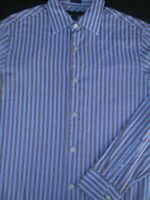 Banana Republic Mens Button Front Long Sleeve Cotton Blue Stripe Shirt Small S