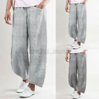 Oversize Femme Pantalons Long Pur Coton Rayure Taille elastique Jambe Large
