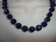 #514 vtg costume necklace Dark Blue Beaded Necklace