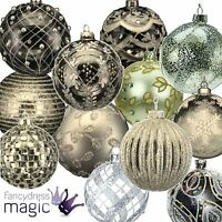 Gisela Graham Glass Bauble Ball Hanging Christmas Tree Decoration 80mm Silver