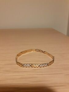 14k 585 yellow and white gold bracelet for tiny wrist 16,7cm 6'6'' 4g